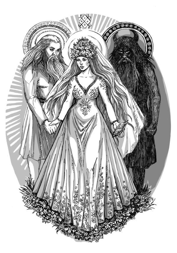 Mitologia słowiańska ilustracja z książki Dary bogów